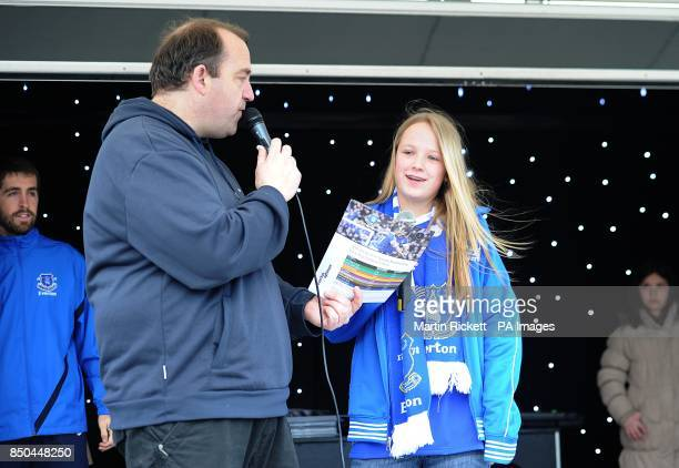 Fans on stage at the Everton Roadshow at Goodison Park