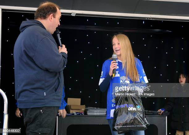 Fans on stage during the Everton Roadshow at Goodison Park