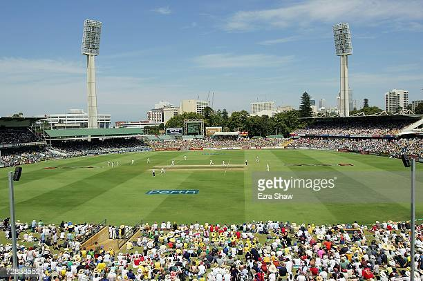 Fans on the hill watch the action during day four of the third Ashes Test Match between Australia and England at the WACA on December 17 2006 in...