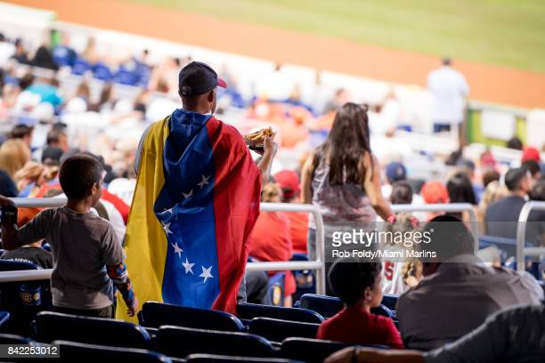 Fans on the promenade level during the second inning of the game between the Miami Marlins and the Philadelphia Phillies at Marlins Park on September...