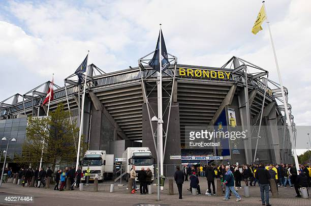 Fans outside the Brondby Stadium before the Danish Superliga match between Brondby IF and FC Midtjylland at the Brondby Stadium on May 08 2014 in...