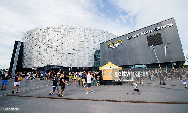 Fans outside the Friends Arena before the Swedish Allsvenskan League match between AIK and Gefle IF at the Friends Arena on August 102014 in...