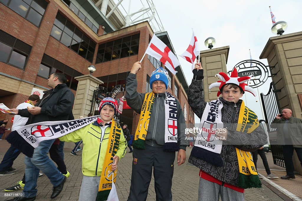 Fans outside the stadium prior to the International Friendly match between England and Australia at Stadium of Light on May 27, 2016 in Sunderland, England.