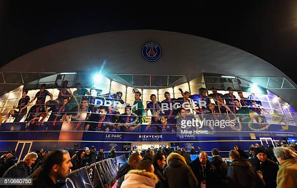 Fans outside the stadium prior to the UEFA Champions League round of 16 first leg match between Paris SaintGermain and Chelsea at Parc des Princes on...