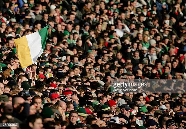 Fans pack the stadium for the first ever rugby union match at Croke Park during the RBS Six Nations Championship match between Ireland and France at...