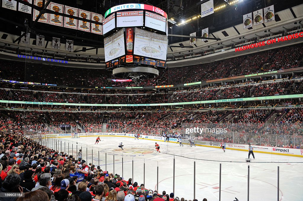 Fans packed the stadium during the NHL game between the St. Louis Blues and the Chicago Blackhawks on January 22, 2013 at the United Center in Chicago, Illinois.