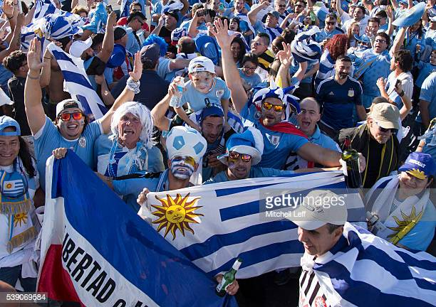 Fans parade in the parking lot prior to the match between Uruguay and Venezuela during the 2016 Copa America Centenario Group C match at Lincoln...