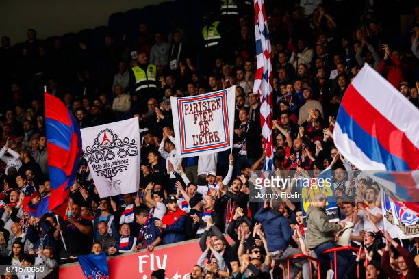Fans Paris Saint Germain during the French Ligue 1 match between Paris Saint Germain and Montpellier Heault at Parc des Princes on April 22 2017 in...