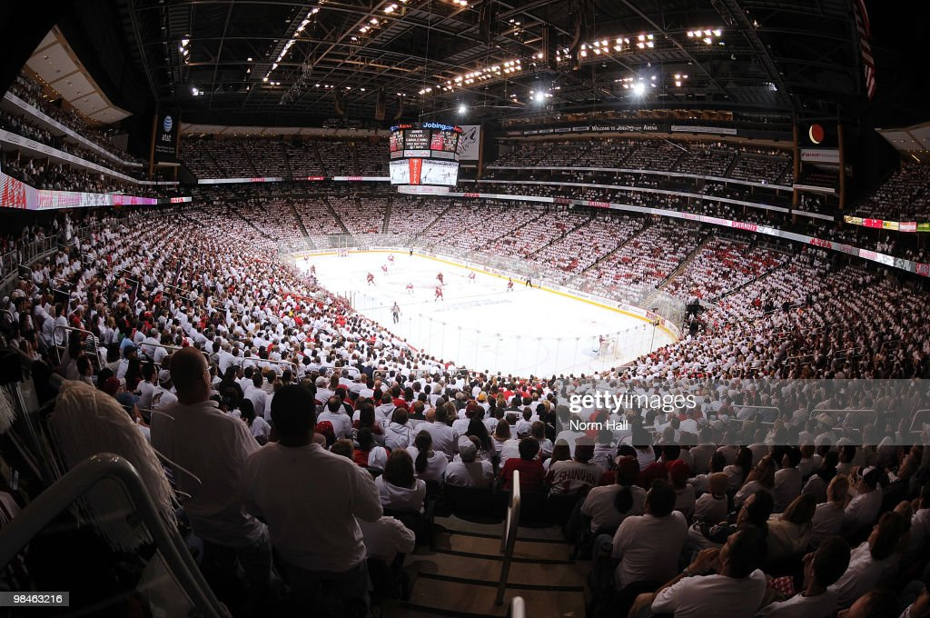 Fans participate in a 'WhiteOut' as the Phoenix Coyotes take on the Detroit Red Wings in Game One of the Western Conference Quarterfinals during the...