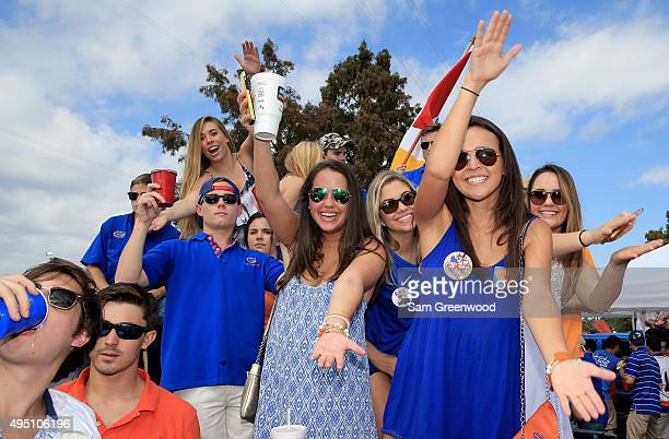 Fans participate in tailgating activites before the game between the Florida Gators and the Georgia Bulldogs at EverBank Field on October 31 2015 in...