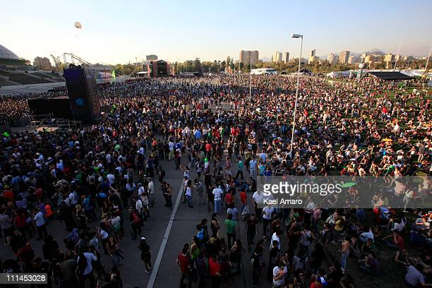 Fans participate in the Lollapalooza music festival at O Higgins Park on April 02 2011 in Santiago Chile
