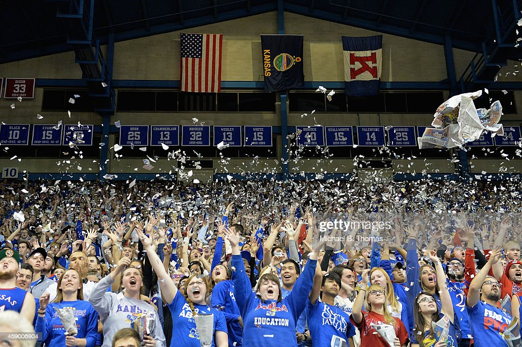 Fans particpate pregame fanfare during player introductions before a game between the UC Santa Barbara Gauchos and the Kansas Jayhawks at Allen...