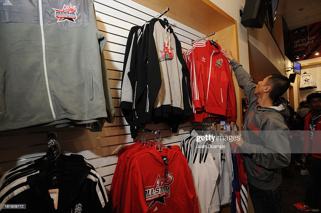 Fans picking out All-Star Apparel prior to the 2013 NBA All-Star Game on February 17, 2013 at Toyota Center in Houston, Texas.