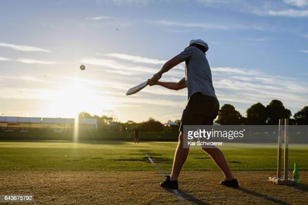 Fans play a backyard cricket match following game two of the One Day International series between New Zealand and South Africa at Hagley Oval on...