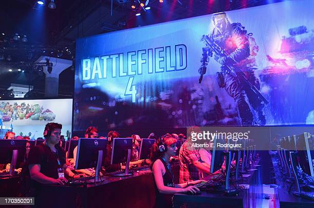Fans play Battlefield 4 on the opening day at the E3 Gaming and Technology Conference at the Los Angeles Convention Center on June 11 2013 in Los...