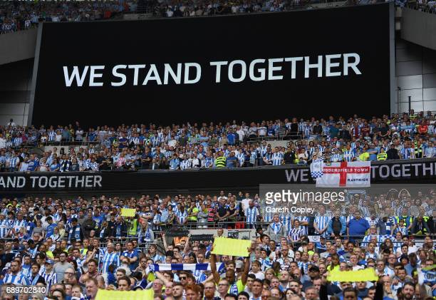 Fans players and officals all take part in a mintues silence to commemorate the victims of the Manchester Arena terror attack prior to the Sky Bet...