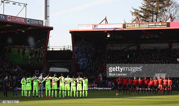 Fans players and officials observe a minutes silence for the victims of the plane crash involving the Brazilian club Chapecoense prior to the Premier...