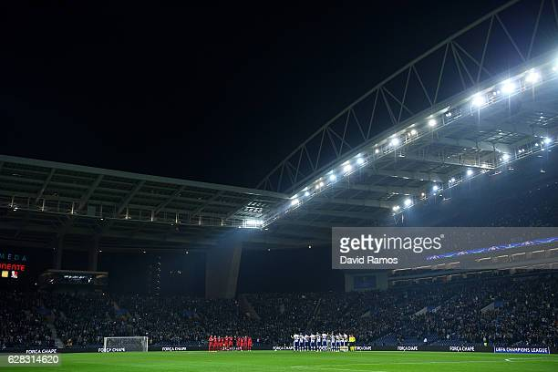 Fans players and officials observe a minutes silence for the victims of the plane crash involving the Brazilian club Chapecoense during the UEFA...