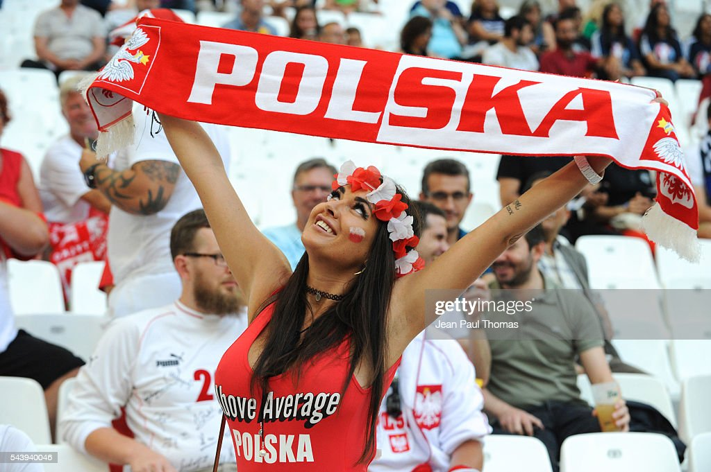 Fans Poland during the UEFA Euro 2016 Quater Final between Poland and Portugal at Stade Velodrome on June 30, 2016 in Marseille, France.