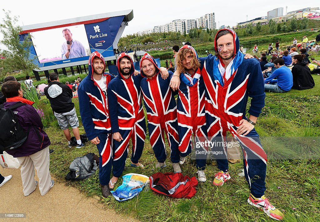 Fans pose after cheering on Helen Glover and Heather Stanning of Great Britain in the Women's Pair Final A on the BA Stage at Park Live presented by British Airways today on day 5 of the London 2012 XXX Olympic Games on August 1, 2012 in London, United Kingdon. The dedicated area for fans expects up to 10,000 daily visitors who can watch live action on the giant LED screens and see the athletes interviewed on the BA Stage.