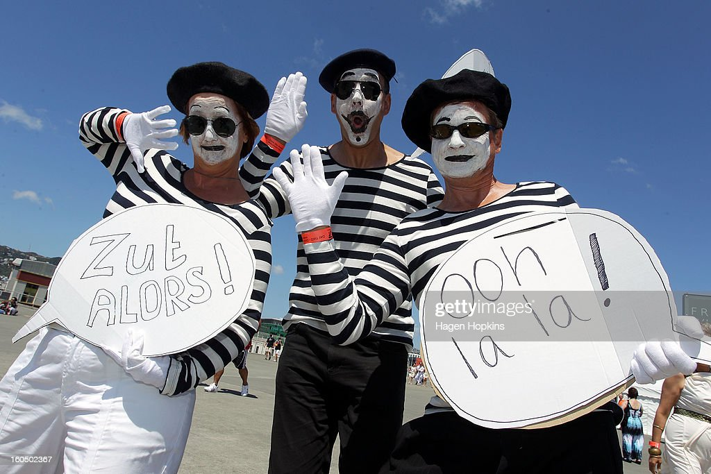 Fans pose during the 2013 Wellington Sevens at Westpac Stadium on February 2, 2013 in Wellington, New Zealand.