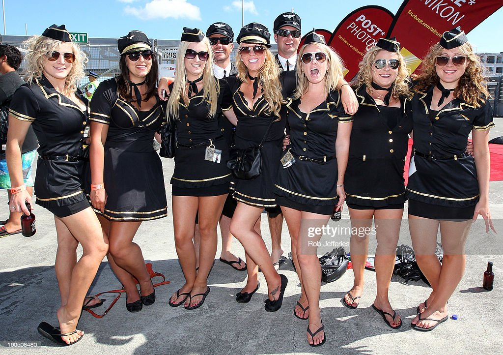 Fans pose for a photo during the Hertz Sevens, Round four of the HSBC Sevens World Series Westpac Stadium on February 2, 2013 in Wellington, New Zealand.