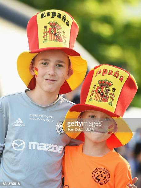 Fans pose for a photo outside the stadium prior to the UEFA European Under21 Championship Final between Germany and Spain at Krakow Stadium on June...