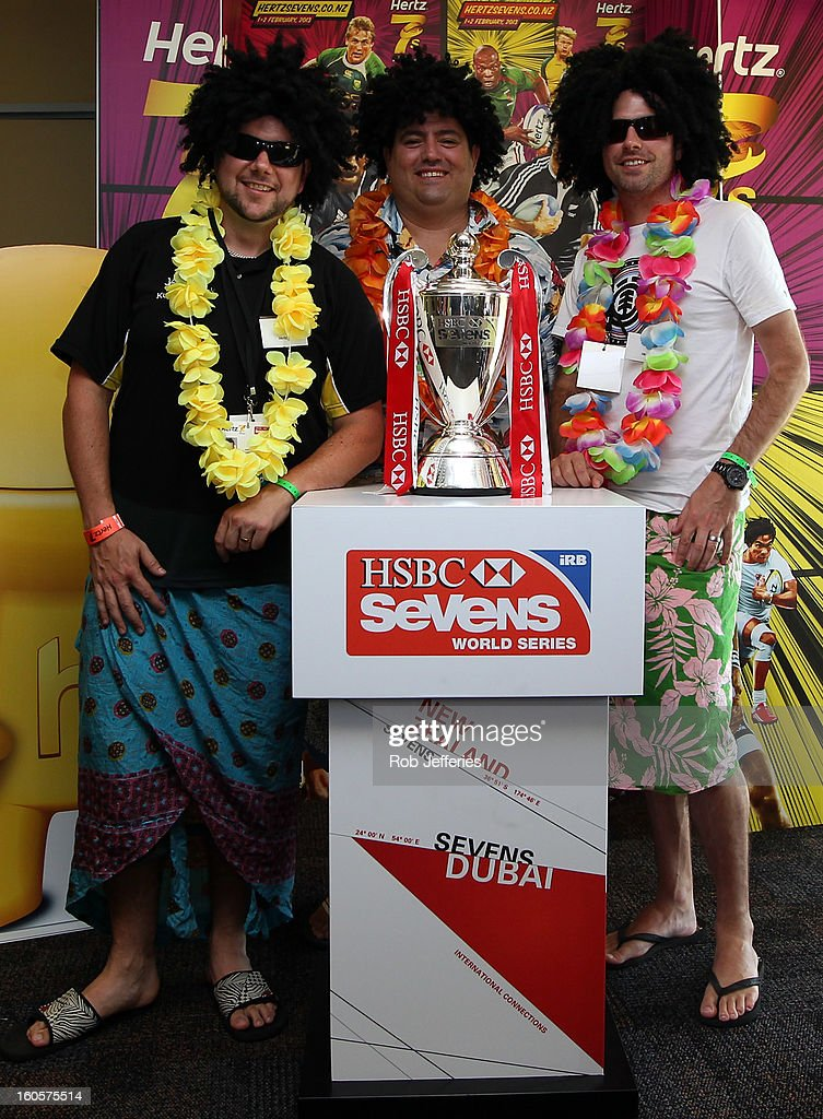 Fans pose for a photo with the HSBC Sevens World Series Trophy during the Hertz Sevens, Round four of the HSBC Sevens World Series Westpac Stadium on February 2, 2013 in Wellington, New Zealand.