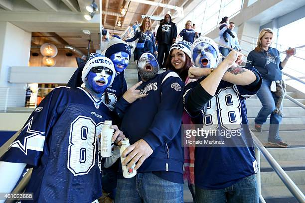 Fans pose inside ATT Stadium before the NFC Wildcard Playoff Game between the Dallas Cowboys and the Detroit Lions on January 4 2015 in Arlington...