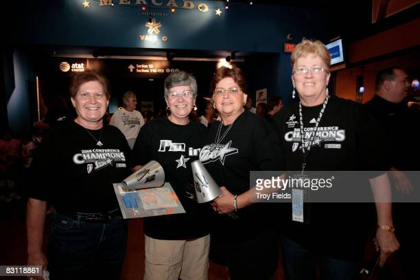 Fans pose prior to Game Two of the WNBA Finals between the Detroit Shock and San Antonio Silver Stars on October 3 2008 at ATT Center in San Antonio...