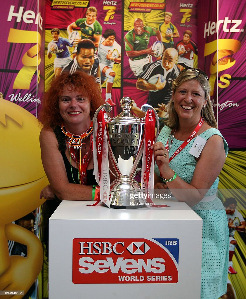 Fans pose with the HSBC Sevens World Series Trophy during the Hertz Sevens, Round four of the HSBC Sevens World Series Westpac Stadium on February 2, 2013 in Wellington, New Zealand.