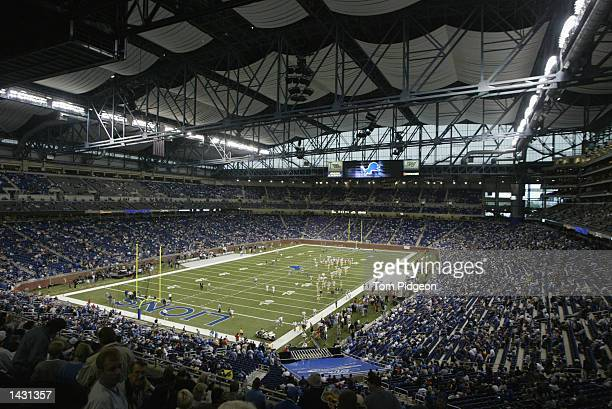 Fans pour into Ford Field prior to the start of the first regular season game in the new facility for the Detroit Lions before the game against the...