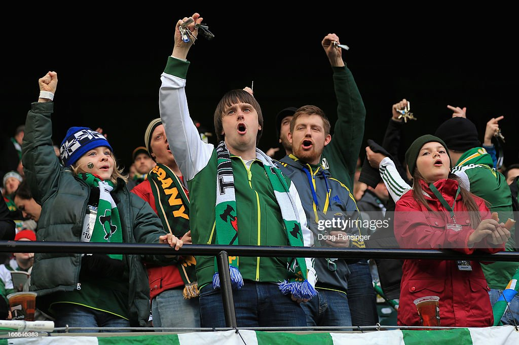Fans prepare for the game as they support the Portland Timbers against the San Jose Earthquakes at JELD-WEN Field on April 14, 2013 in Portland, Oregon.