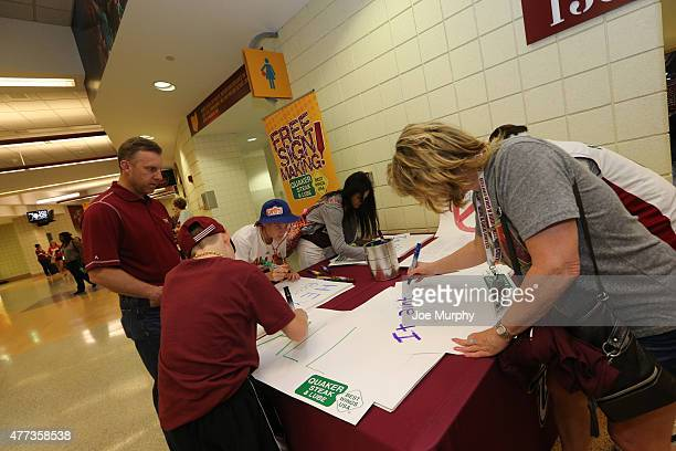 Fans prepares for the game of the Golden State Warriors against the Cleveland Cavaliers in Game Six of the 2015 NBA Finals on June 16 2015 at Quicken...
