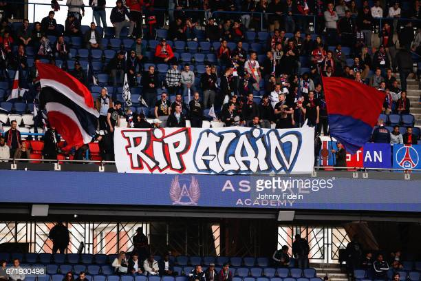Fans PSG during the French Ligue 1 match between Paris Saint Germain and Montpellier Herault at Parc des Princes on April 22 2017 in Paris France
