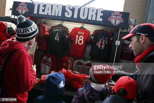Fans queue at the Team Store stalls to buy Toronto FC merchandise