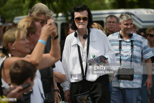 Fans queue before starting a tour of Elvis Presely's Graceland mansion in Memphis Tennessee on August 12 2017 Forty years after his tragic death at...