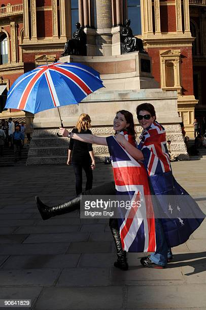 Fans queue outside for the Last Night of the Proms at Royal Albert Hall on September 12 2009 in London England