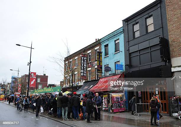 Fans queue outside the Electric Ballroom in Camden North London ahead of a Prince concert at Electric Ballroom on February 5 2014 in London England