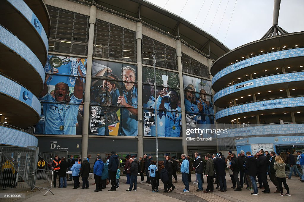 Fans queue outside the ground prior to the Barclays Premier League match between Manchester City and Tottenham Hotspur at Etihad Stadium on February 14, 2016 in Manchester, England.