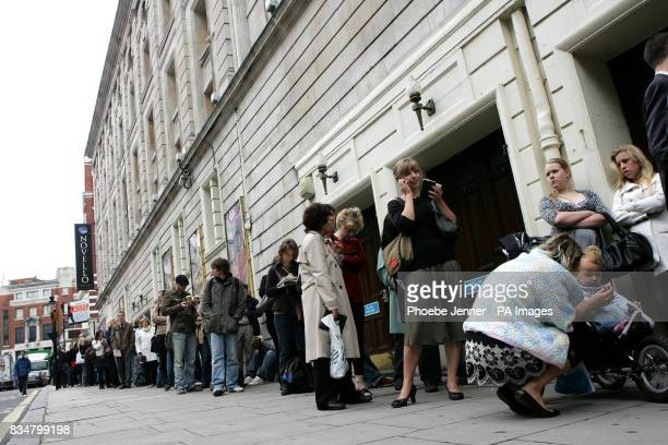 Fans queue to buy tickets for David Tennant's forthcoming Hamlet performance for the Royal Shakespere Company outside the The Novello Theatre in...