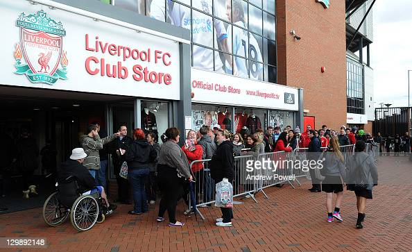 Fans queue to meet Liverpool player Pepe Reinaas he signs copies of his Autobiography at the club store at Anfield on October 20 2011 in Liverpool...