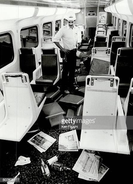 Fans' rampage Brian LeBlanc shop foreman at the Go train repair depot stands damage and trash in a Go train that was vandalized by rioting fans on...