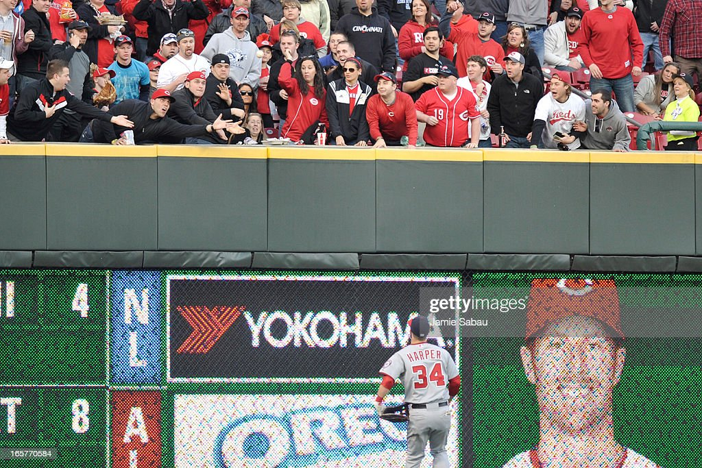 Fans reach for a home run ball hit by Zack Cozart #2 of the Cincinnati Reds in the second inning as <a gi-track='captionPersonalityLinkClicked' href=/galleries/search?phrase=Bryce+Harper&family=editorial&specificpeople=5926486 ng-click='$event.stopPropagation()'>Bryce Harper</a> #34 of the Washington Nationals watches at Great American Ball Park on April 5, 2013 in Cincinnati, Ohio.