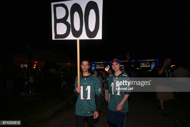 Fans react after Derek Barnett of Tennessee was picked overall by the Philadelphia Eagles during the first round of the 2017 NFL Draft at the...