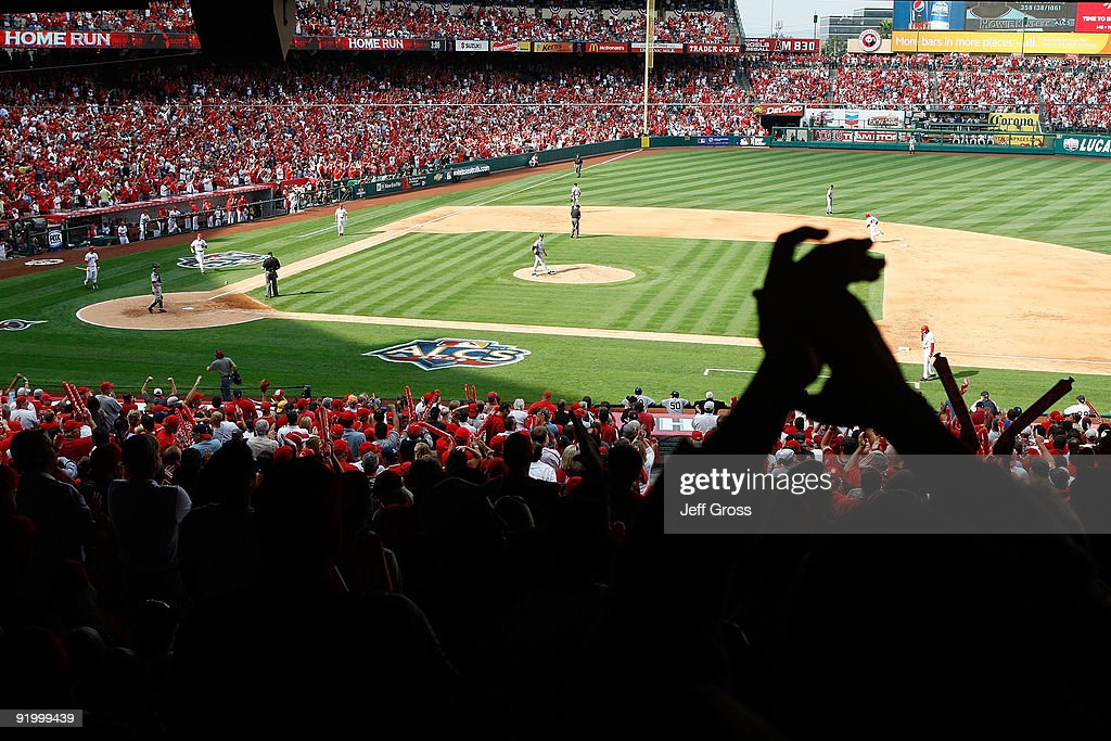Fans react after <a gi-track='captionPersonalityLinkClicked' href=/galleries/search?phrase=Howie+Kendrick&family=editorial&specificpeople=628938 ng-click='$event.stopPropagation()'>Howie Kendrick</a> #47 of the Los Angeles Angels of Anaheim hits a home run off <a gi-track='captionPersonalityLinkClicked' href=/galleries/search?phrase=Andy+Pettitte&family=editorial&specificpeople=201753 ng-click='$event.stopPropagation()'>Andy Pettitte</a> #46 of the New York Yankees during the fifth inning in Game Three of the ALCS during the 2009 MLB Playoffs at Angel Stadium on October 19, 2009 in Anaheim, California.