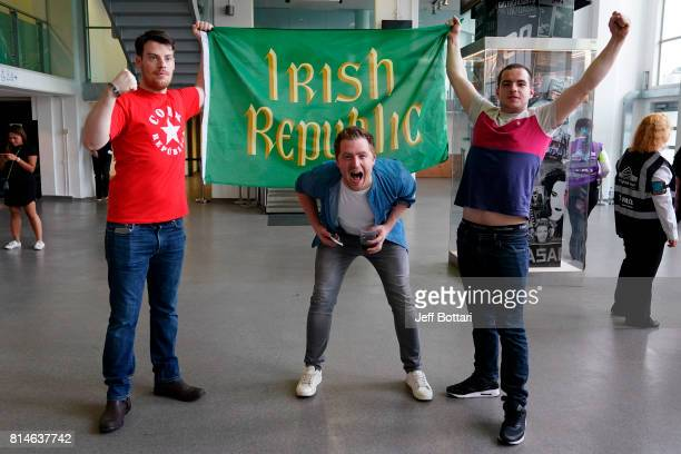 Fans react and cheer for Conor McGregor prior to the Floyd Mayweather Jr v Conor McGregor World Press Tour event at SSE Arena on July 14 2017 in...