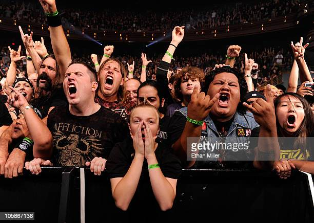 Fans react as Slayer performs during the Jagermeister Fall Music Tour at The Pearl concert theater at the Palms Casino Resort October 20 2010 in Las...