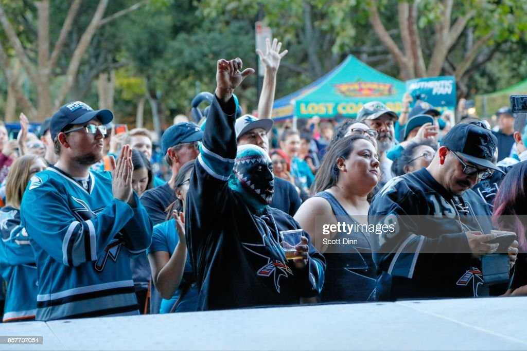 Fans react at the Street Rally prior to the San Jose Sharks season opening NHL game against the Philadelphia Flyers at SAP Center at San Jose on October 4, 2017 in San Jose, California.