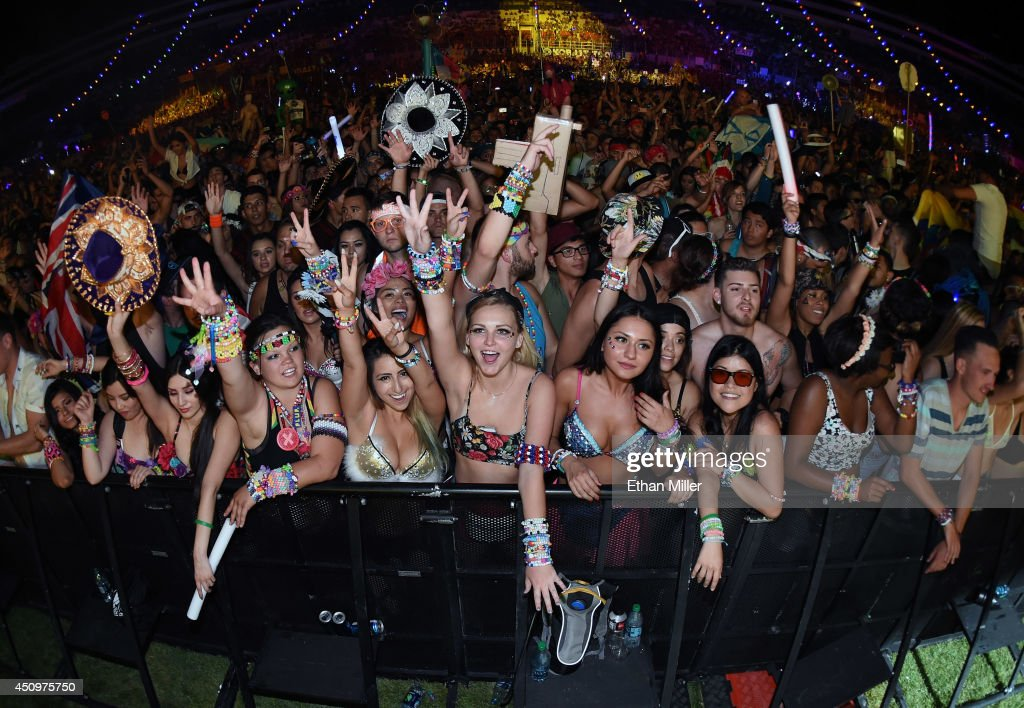 Fans react during a performance by Diplo at the 18th annual Electric Daisy Carnival at Las Vegas Motor Speedway on June 21, 2014 in Las Vegas, Nevada.